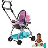 """Игровой набор Barbie """"Скиппер няня"""" Малыш с розовой коляской"""