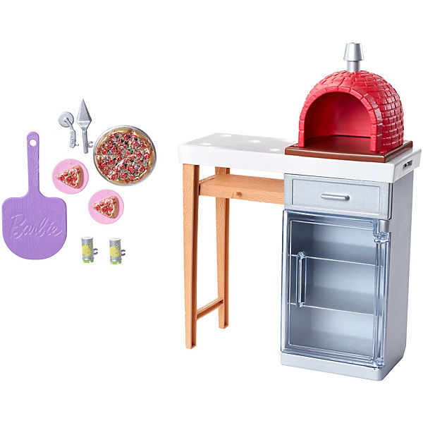 Barbie Möbel-Spielset Outdoor mit Steinpizzaofen, Barbie