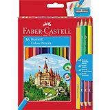 Карандаши цветные Faber-Castell, 36 цветов + 4, с точилкой