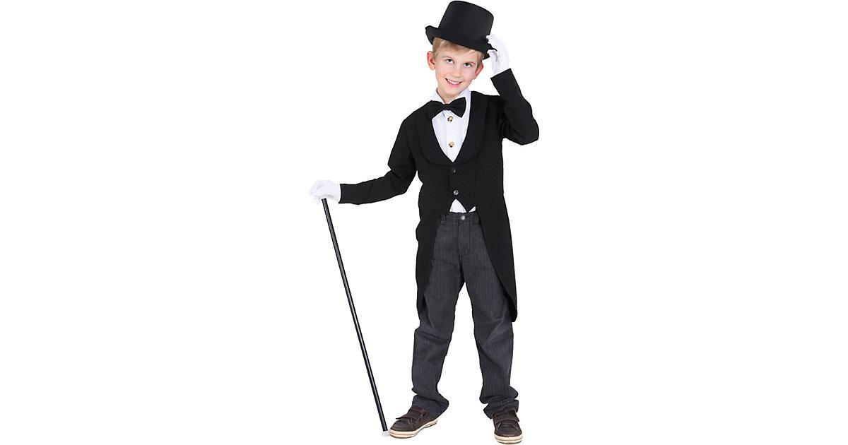 Kostüm Kinderfrack, schwarz Gr. 128 Jungen Kinder