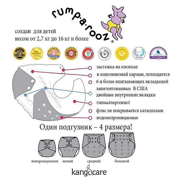 "Многоразовый подгузник Kanga Care ""Rumparooz Onesize"" Quinn"