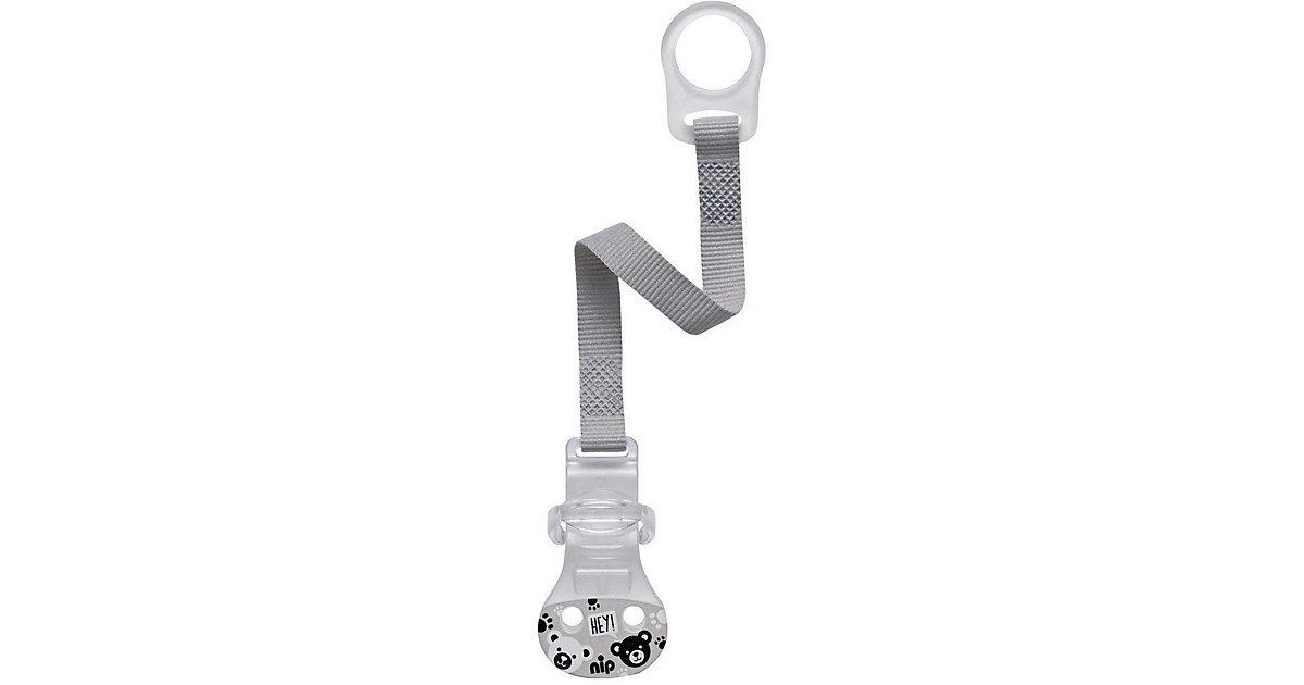 NIP · Schnullerband mit Haken, Schnuller ohne Ring, grau Kinder