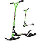 """Трюковый самокат-снегокат Small Rider """"Combo Runner BMX"""" с лыжами и колёсами, зелёный"""