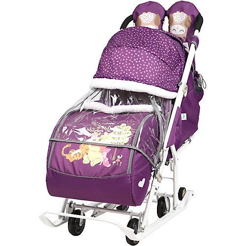 Санки-коляска Ника детям Disney Baby 2 Медвежонок Винни и его друзья баклажановый от Nika-Kids