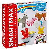 """Магнитный конструктор Bondibon """"SmartMax"""" Мой первый первый набор животных фермы, 16 деталей"""