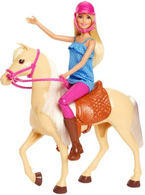 Barbie Pferd mit Puppe (blond), Anziehpuppe, Modepuppe