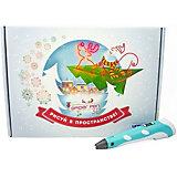 Новогодний набор 3Д Ручка Spider Pen PLUS, Пластик, Трафареты, цвет Голубой