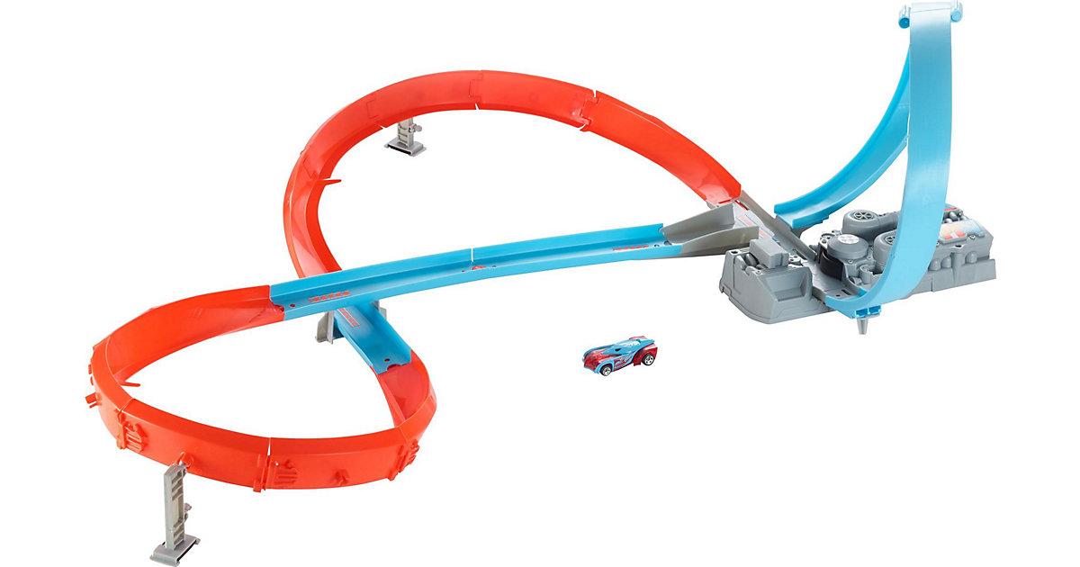 Hot Wheels Rennstrecke mit 8er Kurve, motorisierte Autorennbahn inkl. 1 Spielzeugauto