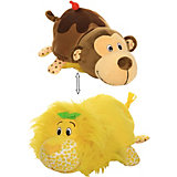 """Мягкая игрушка-вывернушка 1toy """"Ням-Ням"""" Лев с ароматом лимона-Мартышка с ароматом шоколадного молочного кокте"""