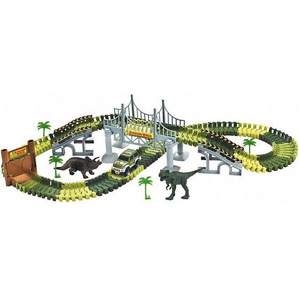 "Гибкий трек 1toy ""Динопарк"" мост, ворота, 1 машинка, 178 деталей"