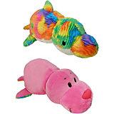 Мягкая игрушка-вывернушка 1toy Морской котик-Радужный дельфин, 40 см