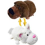 Мягкая игрушка-вывернушка 1toy Шоколадный лабрадор-Белый кот, 40 см