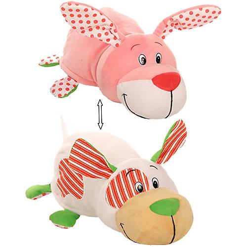 """Мягкая игрушка-вывернушка 1toy """"Ням-Ням"""" Щеночек с ароматом мятной жвачки-Зайчонок с ароматом фруктовой жвачки, от 1Toy"""