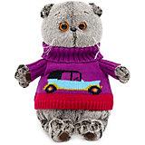 Мягкая игрушка Budi Basa Кот Басик в свитере с машинкой, 22 см