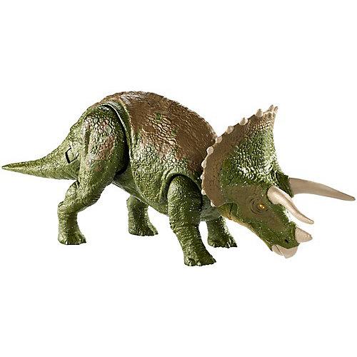 """Базовая фигурка динозавра Jurassic World """"Двойной удар"""" Трицераптос от Mattel"""