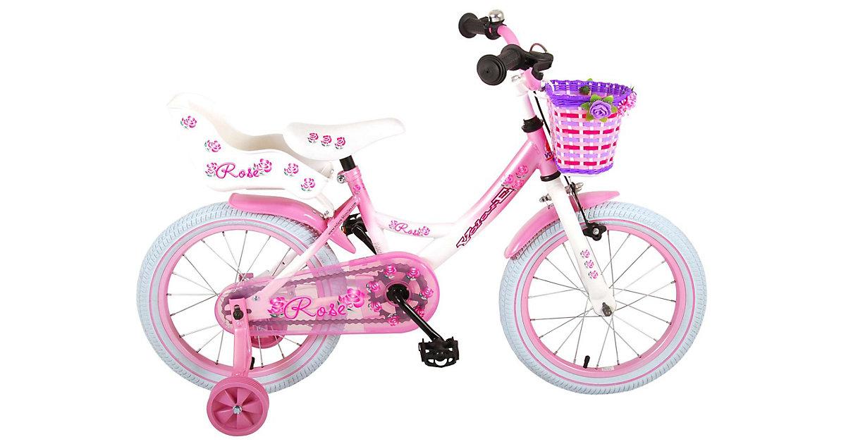 Rose Kinderfahrrad - Mädchen - 16 Zoll - Pink Weiß - rosa/weiß