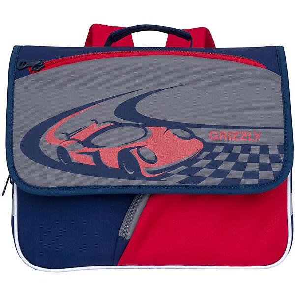 Рюкзак детский Grizzly, синий - серый - красный