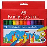 Фломастеры Faber-Castell Jumbo, 24 цвета, смываемые