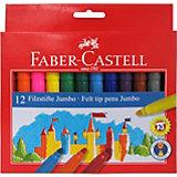 Фломастеры Faber-Castell Jumbo, 12 цветов, смываемые