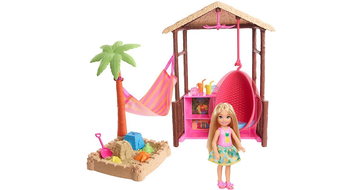 Barbie Chelsea Puppe (blond), Spielset mit Ferien-Hütte und formbarem Sand