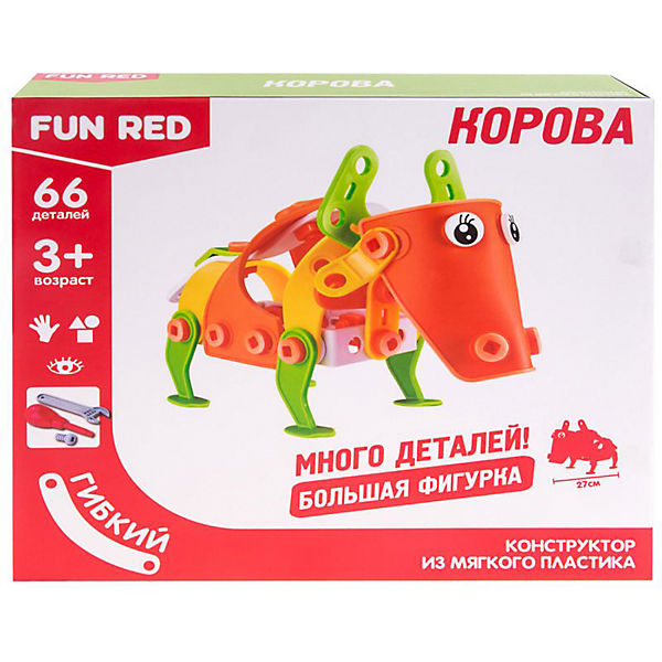 Гибкий конструктор Fun Red Корова, 66 деталей