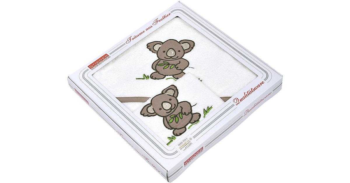 Wörner · Set Kapuzen-Badetuch 80 x 80 cm & Waschhandschuh 15 x 21 cm, Koala, weiß