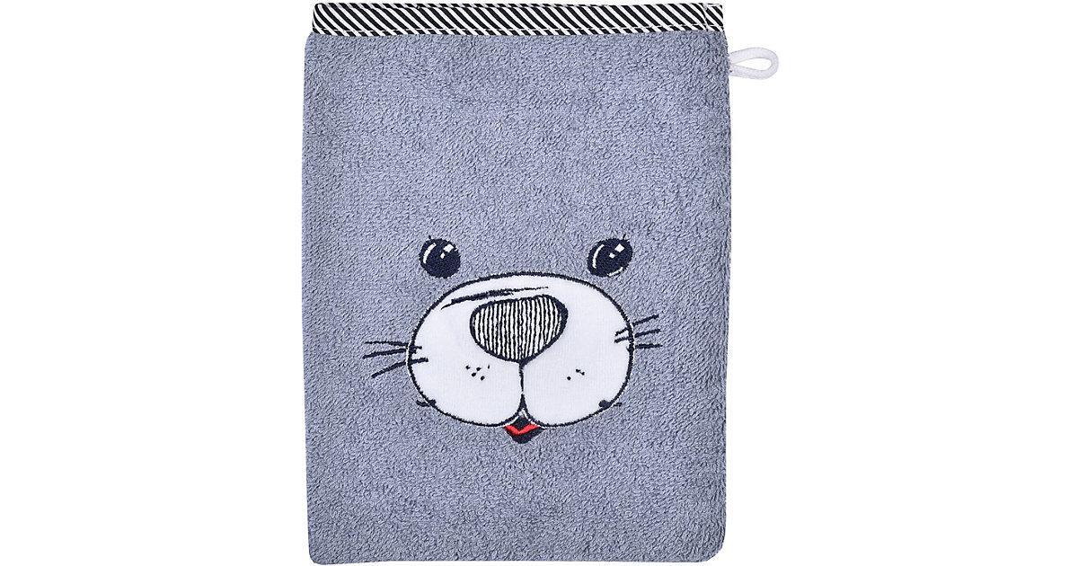 Wörner · Waschhandschuh, Seehund, grau, 15 x 21 cm