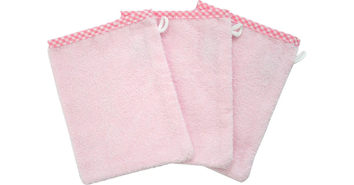 Wörner · Waschhandschuh 3er Set, rosé, 15 x 20 cm