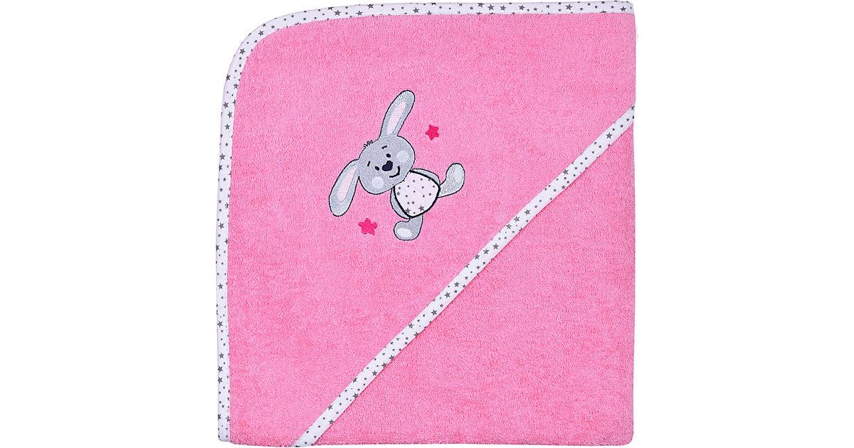 Wörner · Kapuzen-Badetuch, Hase, pink, 100 x 100 cm