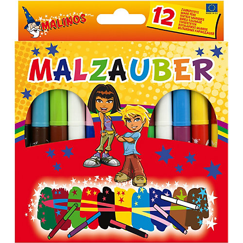 Набор двухцветных фломастеров Malinos Malzauber меняющих цвет. (10 шт.+ 2 волшебных белых фломастера.) от Malinos