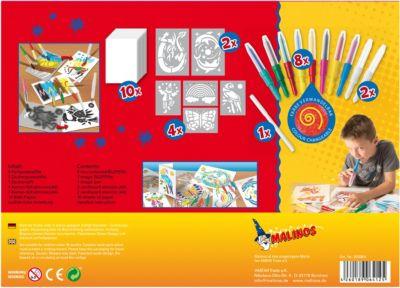Набор двухцветных фломастеров- аэрографов с трафаретами Malinos Blopens, меняющих цвет, 10+1