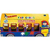 """Набор темперных красок """"Автобус"""" Malinos Farben Bus 12 цветов"""