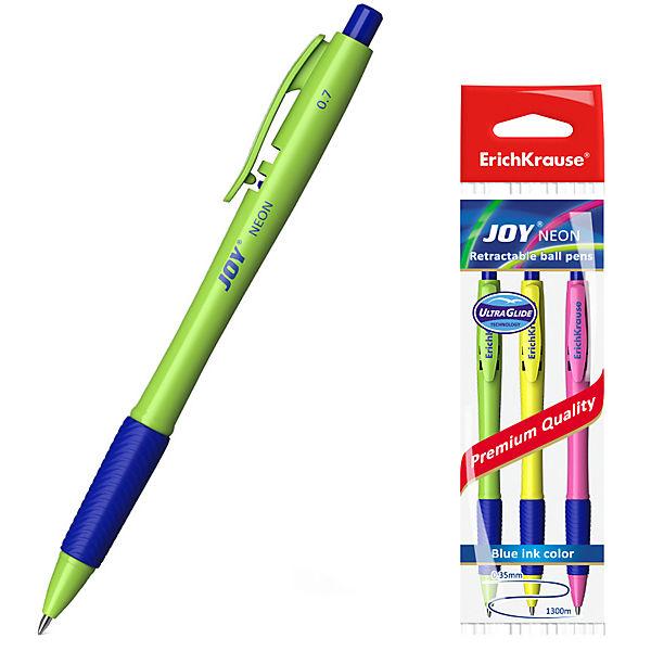 "Набор шариковых ручек ErichKrause ""Joy Neon"" Ultra Glide Technology, синий, 3 шт"