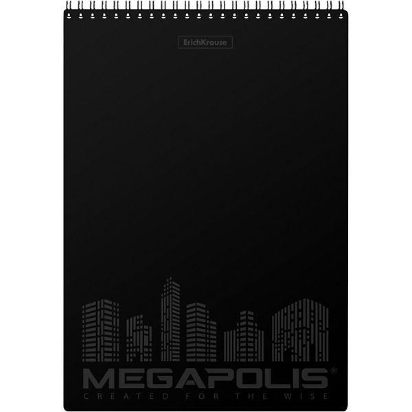 "Блокнот на спирали ErichKrause ""Megapolis"", чёрный, А4, 80 листов, клетка"