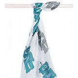 Муслиновая простынка-полотенце Jollein, синие роботы, XL 140x200 см
