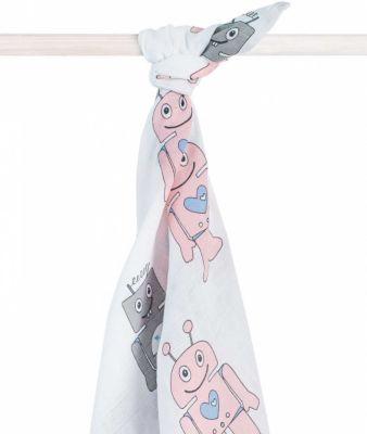 Муслиновая простынка-полотенце Jollein, розовые роботы, XL 140x200 см