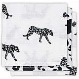 Комплект салфеток Jollein 3 шт., бело-чёрный леопард, 15х21 см