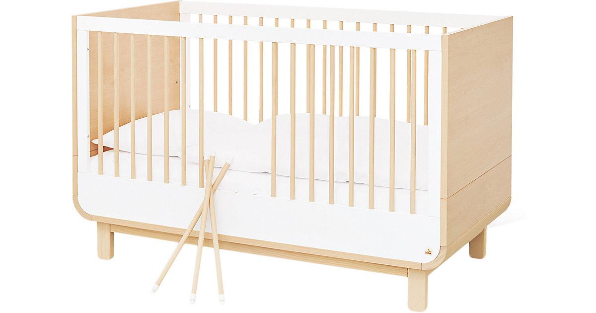Pinolino · Kinderbett ROUND, Ahorn, weiß, 70 x 140 cm