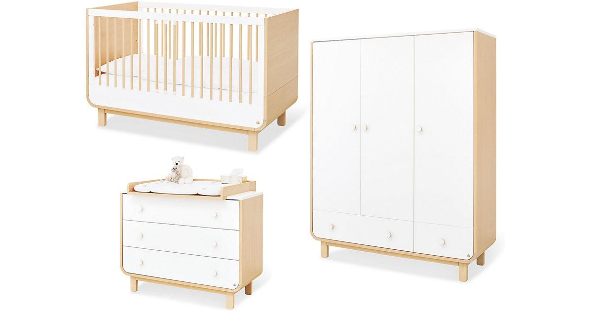 Pinolino · Komplett Kinderzimmer ROUND, 3-tlg. (Kinderbett, breite Wickelkommode und 3-türiger Kleiderschrank), Ahorn, weiß