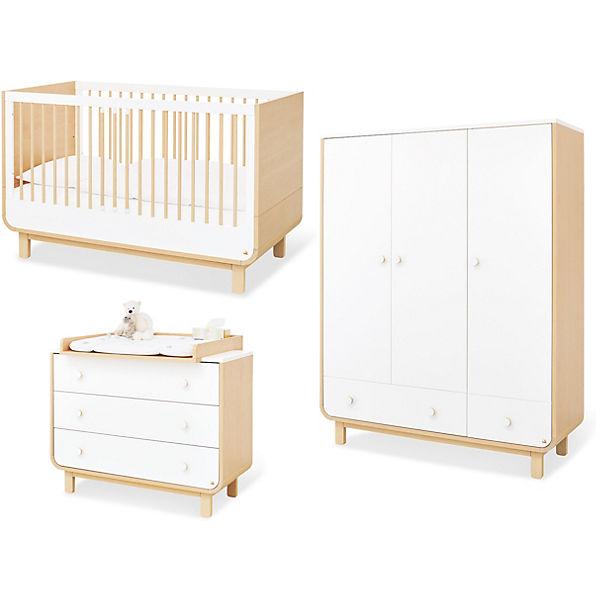 Komplett Kinderzimmer Round 3 Tlg Kinderbett Breite Wickelkommode Und 3 Turiger Kleiderschrank Ahorn Weiss Pinolino