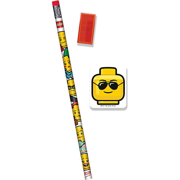 Канцелярский набор Lego: 1 карандаш, 1 точилка, 1 ластик