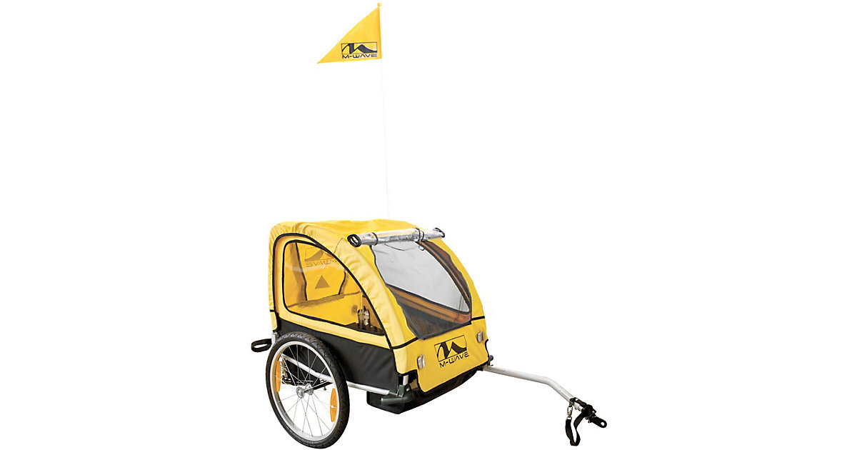 M-WAVE · Gefederter Aluminium Kinder- und Gepäck-Fahrradanhänger ´´Kids Ride Comfort SUS´´