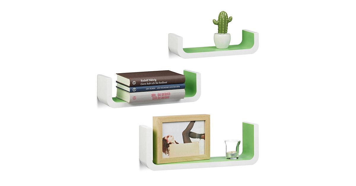 Image of 3-teiliges Wandregal Set in U-form grün/weiß