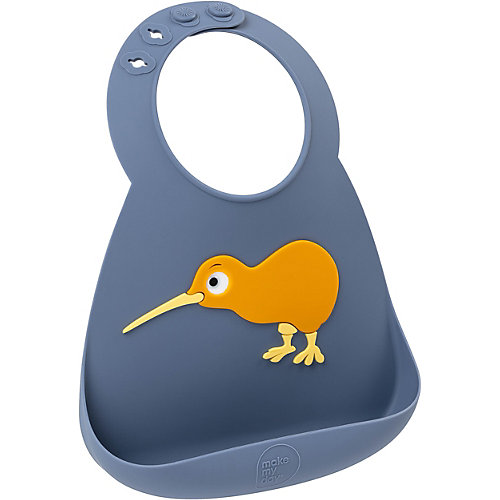 Силиконовый нагрудник Make my day птичка киви - синий