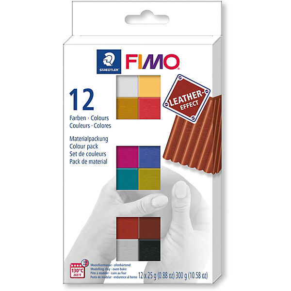 FIMO leather-effect Materialpackung, 12 x 25 g