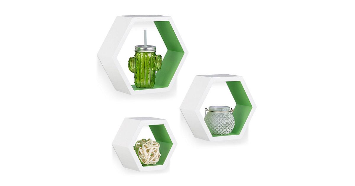 Image of 3-teiliges Wandregal Set, sechseckig, Größe M grün/weiß