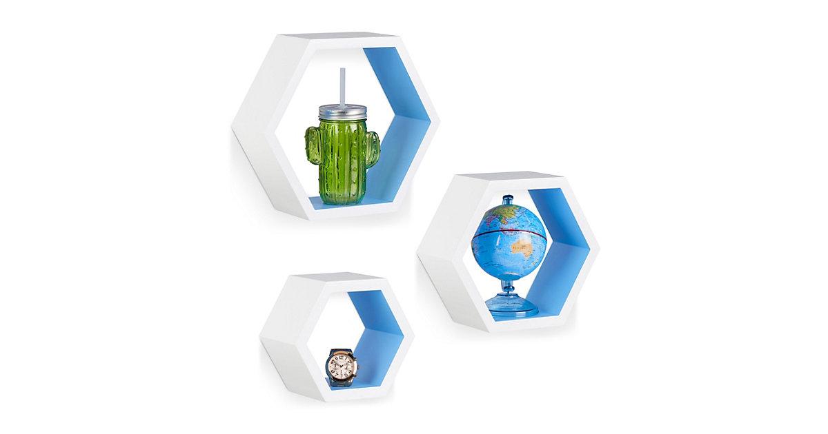 Image of 3-teiliges Wandregal Set, sechseckig, Größe M blau/weiß