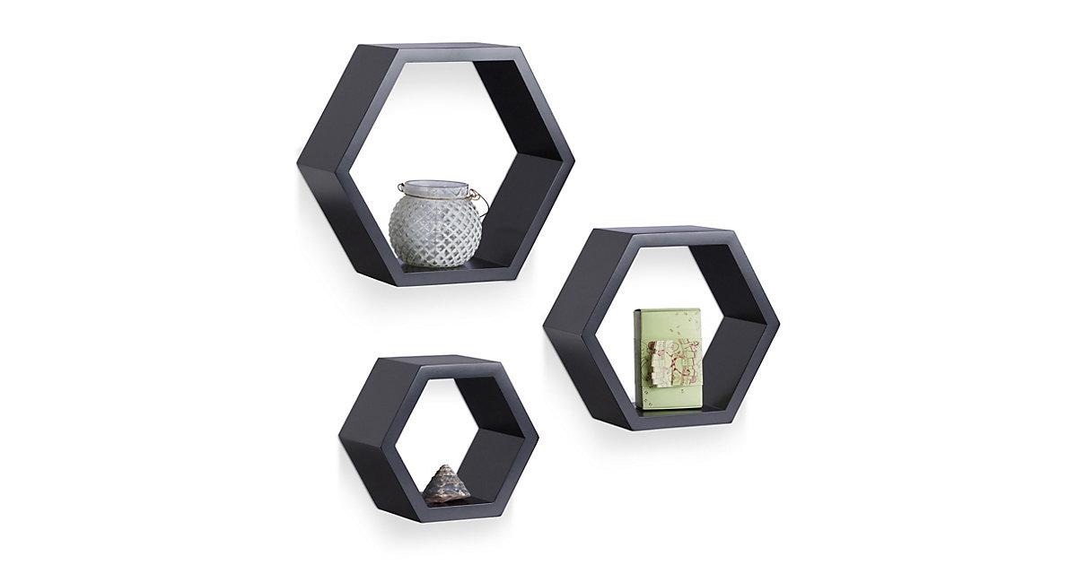Image of 3-teiliges Wandregal Set, sechseckig, Größe M schwarz