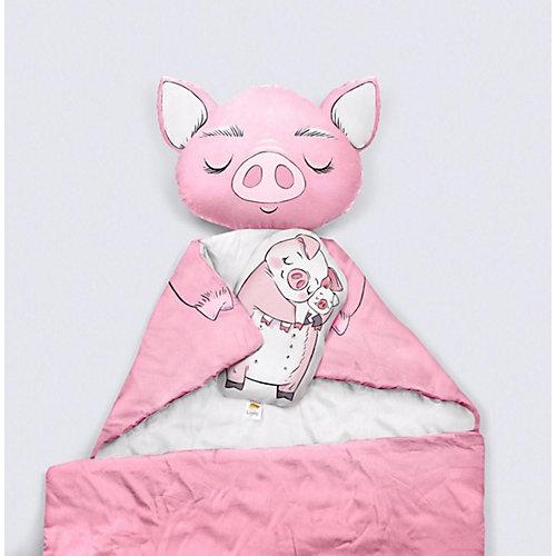 """Подушка Ligra """"Свинка"""" ручной работы, 20х35 см, серая от Ligrasweethome"""
