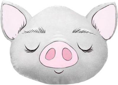 """Подушка Ligra """"Свинка"""" ручной работы, 50х55 см, серая"""